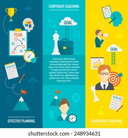 Coaching business flat vertical banner set with leadership effective planning corporate elements isolated vector illustration