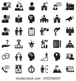 Coaching Business Icons. Black Flat Design. Vector Illustration.