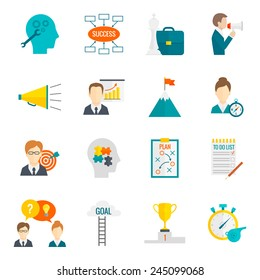 Coaching business leadership management and teamwork motivation icon flat set isolated vector illustration