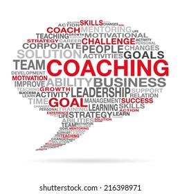 Coaching business and life success concept with different red, black and gray words forming a speech cloud  shape. EPS 10 vector illustration on white background.