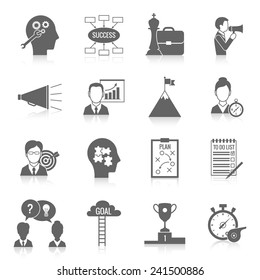 Coaching business teamwork partnership and collaboration training system icon black set isolated vector illustration