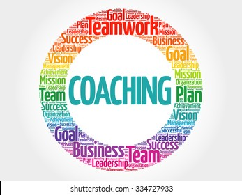 Coaching circle stamp word cloud, business concept