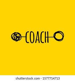 Coaching concept, psychotherapy hand drawn icon, vector sign with tangled and untangled clew, metaphor of coach