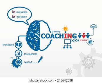 Coaching concept. Training concept illustration design over a notepad