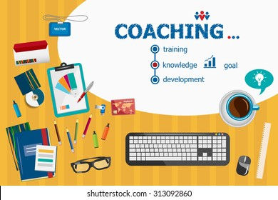 Coaching design and flat design illustration concepts for business analysis, planning, consulting, team work, project management. Coaching design concepts for web banner and printed materials.