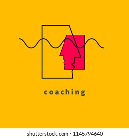 Coaching icon, coach logo, mentor sign, abstract business coaching icon. Vector illustration