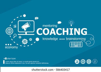 Coaching related words and marketing concept. Infographic business. Project for web banner and creative process.