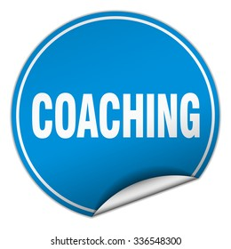 coaching round blue sticker isolated on white