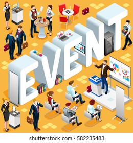 Coaching Seminar Group Diverse Isometric Business People. 3D meeting infographic crowd with standing walking casual people icon set. Coaching seminar lot collection vector illustration
