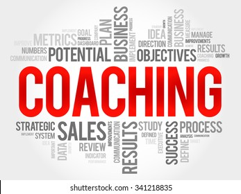 Coaching word cloud, business concept