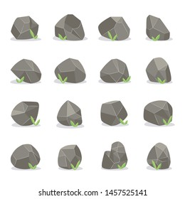 Coal black mineral rocks or stones set of different geometric polygonal shapes vector illustration isolated on white background. Energy resource charcoal icons.