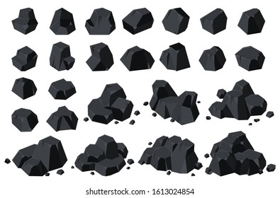 Coal of energy isolated cartoon icon. Vector illustration set charcoal on white background .Vector cartoon set icon coal of energy.