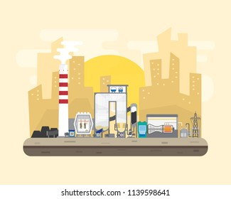 coal energy,  coal power plant with boiler and steam turbine generate the electric supply to the city