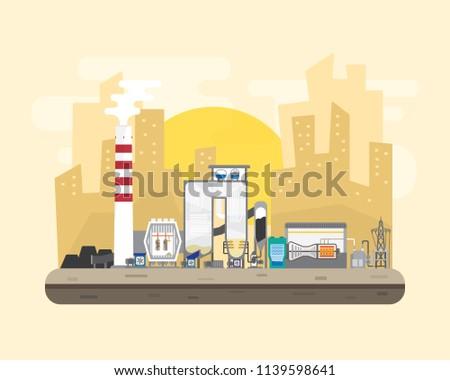 Coal Energy Coal Power Plant Boiler Stock Vector (Royalty Free ...