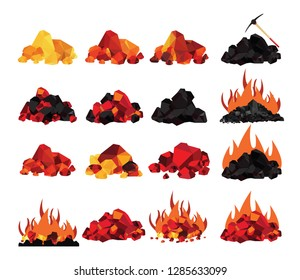 Coal, glowing coal ,hot embers set isolated on white background