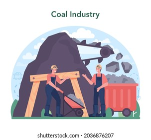 Coal industry concept. Mineral and natural resources extraction. Mining and industrial exploration of crude coal. Modern technology for power generation. Vector illustration
