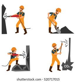 Coal industry horizontal banners set with mining inventory elements isolated vector illustration. Miner in a mine produces breed.