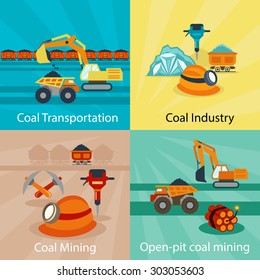 Coal industry vector concepts. Power energy, technology production fuel, mine open pit. Vector illustration