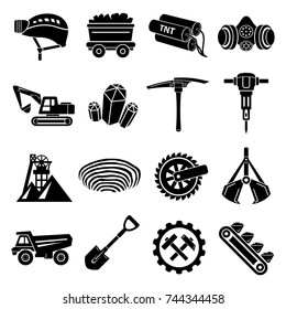 Coal mine icons set. Simple illustration of 16 coal mine vector icons for web