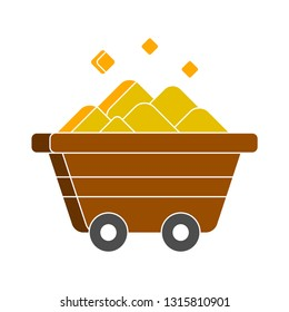coal mine trolley icon. factory coal mine trolley illustration isolated