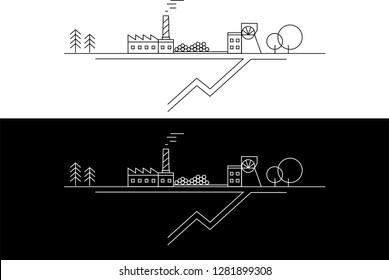 Coal mine. vector illustration. Line art.