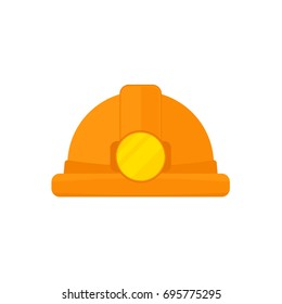 Coal miner hat icon. Vector illustration isolated on white background