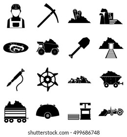 Coal miner icons set. Simple illustration of 16 coal miner vector icons logo for any web design isolated on white background