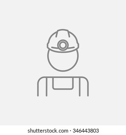 Coal miner line icon for web, mobile and infographics. Vector dark grey icon isolated on light grey background.