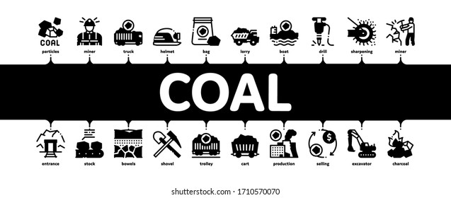Coal Mining Equipment Minimal Infographic Web Banner Vector. Coal Truck Delivery And Conveyer, Helmet And Jackhammer, Excavator And Factory Illustrations