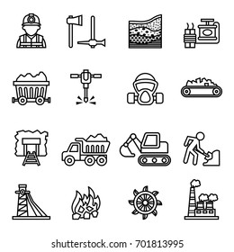 Coal mining factory industry icons set.  Line Style stock vector.