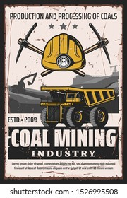 Coal mining industry, production and processing of ore, vector design. Work tools of miner, crossed picks and truck wheel, excavator and mine quarry. Extraction of minerals and iron, equipment