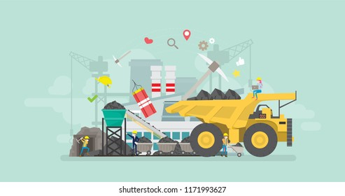 Coal Mining Industry Tiny People Character Concept Vector Illustration, Suitable For Wallpaper, Banner, Background, Card, Book Illustration, And Web Landing Page