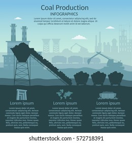 Coal mining industry and transportation set of infographics elements isolated vector technics building