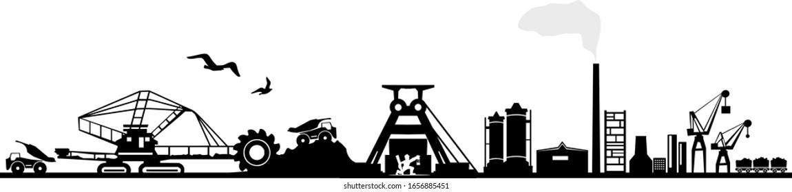 Coal Mining Landscape Skyline Silhouette Vector