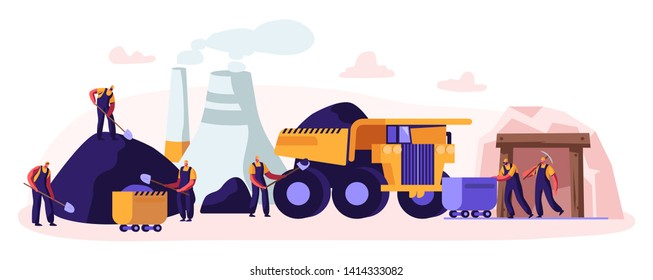 Coal Mining. Miner Characters Working on Quarry with Tools, Transport and Technique. Extraction Industry. Work Equipment Transportation Infographics Technics Buildings Cartoon Flat Vector Illustration