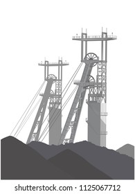 Coal mining on the vector image