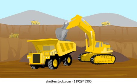 coal mining operation loading into heavy truck in valley mining vector illustration