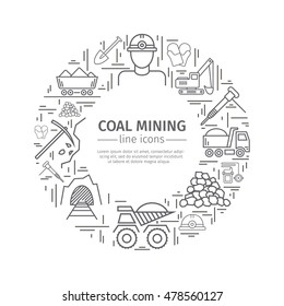 Coal mining web banner. Advertising template. Flat icons. Vector illustration.