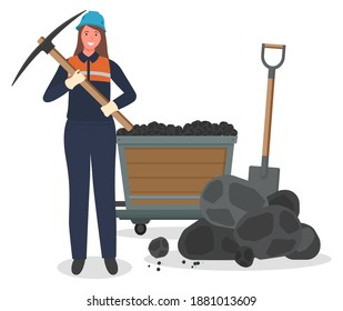 Coal mining, woman miner with pickaxe, hard work, worker in protective helmet, suit, pieces of coal at background, trolley, shovel, not female work, lady working at coal mine, smiling cheerful lady