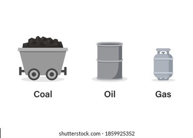 Coal oil gas icon set. Clipart image isolated on white background.