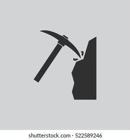 coal and pickaxe  Pile of charcoal  icon
