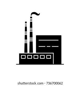 Silhouette-Symbol für Kohlekraftwerke im flachen Stil. Industriekonzept für nicht erneuerbare Energien. Symbol für fossile Brennstoffe einzeln auf weißem Hintergrund.