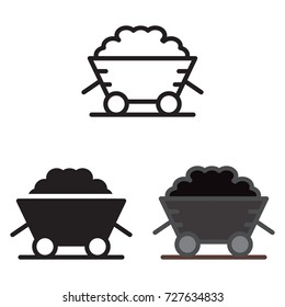 Coal trolley icon in three variations. Vector icon.