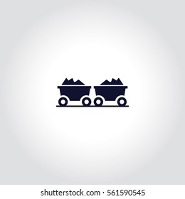 Coal trolley  Vector Icon.