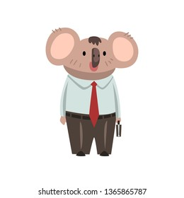 Coala Bear Businessman Office Worker, Cute Humanized Animal Cartoon Character Wearing Formal Clothes Standing with Briefcase Vector Illustration