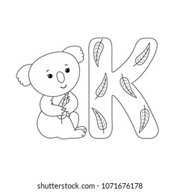 Coala bear with eucalyptus leaf for letter K in kids alphabet. Outline cartoon character and letter for children`s typeface, cute smiling animal, for baby developing card, kids ABC, coloring book.