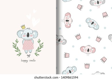 Coala hand drawn card and seamless pattern