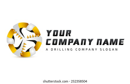 Coal-plow, mining industry logotype, drilling, mining business, drillers logo, drill head logotype