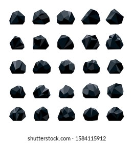 Coals. Coal heap or pile, charcoal and hardcoal anthracite mineral lumps and pieces vector illustration, dark miner production