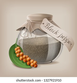 Coarse Ground Black Pepper in a glass jar for storage of loose spices. Vector illustration